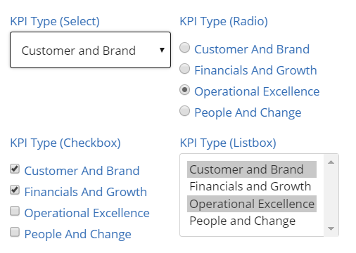 Create Select Lists to set Field Selection Options – Softools